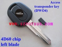 Che series transponder key (DWO4) 4D60 chip left  blade/car key blanks