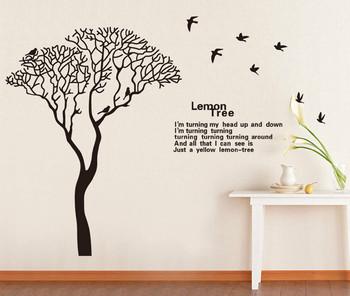 Lemon Tree Bird Removable Wall Stickers Decals Wallpaper Home Art Decor for Kids