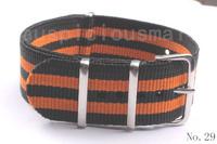 Retail 1Pcs No.29 Orange and Black Patchwork Nylon Watch Strap 22MM  Watchband