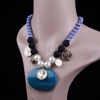 Women Lady Navy Style Short Paragraph Acrylic Gem Pendant Necklace,