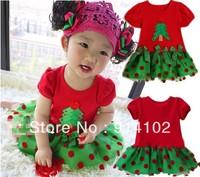 Fashion 2014 New Year red short-sleeved dress koopo Christmas girls dot bow Tree Dresses Lovely kids party dress 5pcs/lot