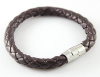 newLeather Diameter 8mm Man's brown Genuine Leather Twist Chain Stainless Steel Buckle Bracelet 12 ich 5pcs