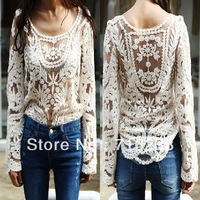 2013 Fall Semi Sexy Sheer Sleeve Embroidery Floral Lace Crochet Tee Top T shirt Vintage white color