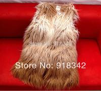 2013 autumn winter New Fashion Long hair Long design women faux fur gilet with Gradual Change ladies vest beige free shipping
