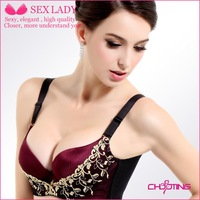 Bra manufacturers 3/4 cup oil massage soft beads exquisite embroidery bra gather adjustable underwear thick section