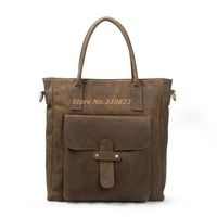 New retro business man bag handbag briefcase full crazy horse leather bag shoulder bag Mobile Messenger