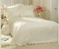 Romantic Flower Lace bedspread princess bedding set queen king size 4pcs Jacquard comforter/duvet cover bed skirts bedclothes