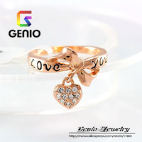 GN R004 Italina 18K Gold Plated lovely female Austrian crystal letters LOVE YOU ring female fashion ring jewelry free shipping!