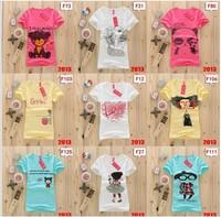 [Alice]Hot sale!!! Free Shipping 2013 New Design 100% cotton Women Fashion Short sleeve women's T shirt 130models