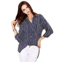 2014 Autumn New Fashion womens OL Elegant Half Sleeve Shirts vertical striped Print Slim Casual Loose Ladies Blouses Tops PS0340