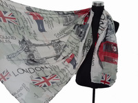 Fashion Souvenir London Scene Theme Union Jack UK Print Scarf Shawl Wrap 180cm*110cm, Free Shipping