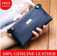 2013 Vintage wallet genuine leather zipper long women purse fashion lady cowhide day clutch free shipping