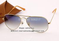 Top Selling Original RB genuine Aviator Sunglasses RB 3025 001/3F gold blue gradient blue original box case