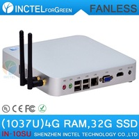 Fanless Computer Intel Celeron dual core C1037U 1.8GHz with 4G DDR3 RAM 32G SSD