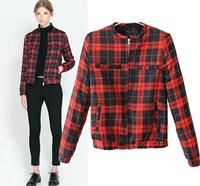 FS259 Autumn Fashion Casual Plaid Print long-sleeve zipper women's jacket outerwear