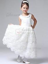 Elegante Bola Branca vestido em camadas Flor redonda Trazido longa Tulle Crianças Flower Girl Primeira Comunhão Vestidos Wedding Party 2014!(China (Mainland))