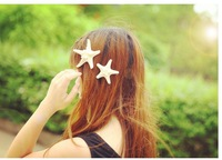 Korean seashore starfish handmade genuine natural duckbill clip hairpin edge clip  bangs hair jewelry