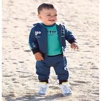 OWIND I N stock Autumn and winter Cute boy panda jacket+ T-shirts + pants 3pcs suit clothing set