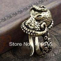 Free Shipping Wholesale Men crystal Rhinestone fashion jewelry Gothic Deep sea Octopus rings Adjustable size