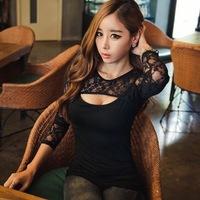 2014 New fashion Korean black color Women Slim sexy lace low-cut T-shirt 8724