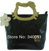 China Wholesale 2013 New Stylish Hello Kitty  PU Leather Handbag Woman Bag  (1 piece) Free Shipping