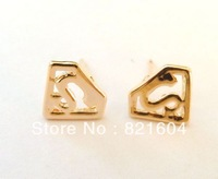Free Shipping wholesale metal rose gold Popular Personalized superman stud earrings