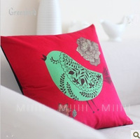Free shipping 4pcs/set 47*47cm velvet cushion cover red background with greenbird  design