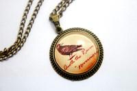 10pcs/lot Edgar Allan Poe Raven 'Nevermore' Gothic, Vintage, Halloween Necklace Glass Cabochon Necklace