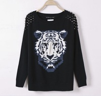Winter Autumn Women sweater rivet Tiger printed long sleeve Pullovers women's knitted sweater free shipping
