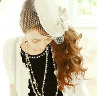 Free Shipping Retro Vintage British Style White Billycock women's Bowler Hat Small Hat Bridal Hat with Lace Veil white/black