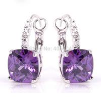 dainty style Unique Purple Amethyst 925 Dangle Hook Silver Earring Free Shipping