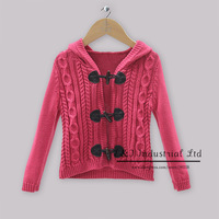 2014 Winter New Arrival Baby Girl Casual Sweater Red Cotton Cardigan With Cap Christmas Infants Winter Outwear Hot Seller