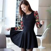 Free shipping!2015 spring Autumn dress Slim long sleeve Floral  dress