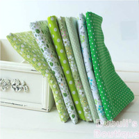 Green 7 Assorted Pre-Cut Charm Cotton Quilt Fabric Fat Quarter Tissue Bundle, Best Match Floral Stripe Dot Grid Print 50x50cm