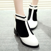 2013 spring and autumn female boots patchwork round toe back zipper martin boots
