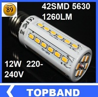 Wholesale Ultra Bright  5630 42leds 200-240V/AC 12w LED Bulb 1260lm E27 LED ligth corn bulb CE&RoHS certificated  Free shipping