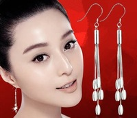 Line Long Tassel Design Vintage 925 Pure Silver Earrings Fashion Ear Hook Bride Accessories