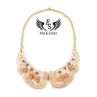Free Shipping 2013 Fashion vintage V-neck design flower choker Shell Choker necklaces ES-032