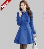 Women's 2013 autumn and winter sweet medium-long stand-up ruffle collar slim overcoat woolen outerwear