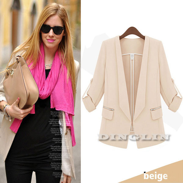 Hot Sale Fashion Women's Lapel Long Sleeve Open Slim Fitted Casual Peplum Blazer Jacket 3 Colors Siz S M L Free Shipping 0151(China (Mainland))