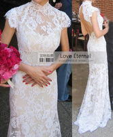 2013 New Lace Dress For Women Sexy Open Back Long Lace Party Court Train Wedding Dresses Free Shipping