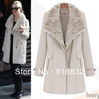 Free Shipping New Fashion 2013 Winter Woman Fur Collar Coat Woolen Blends Black Beige Overcoat  Wholesale