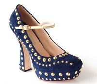 High Quality Interantional Designer Brand Genuine Leather plus Rivets Women High Heel Shoes   Lady  Ankle Strap Brand Shoes