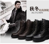 LowestCommando boots Martin boots male boots male boots tooling boots warm boots waterproof leather + rubber Free shipping