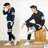 2014 New autumn men's clothing casual sports suits slim male with a hood sweatshirt set male thin sportswear