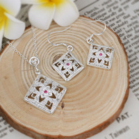 Hot sale 925 Sterling Silver jewelry set,Square Flowers Necklace & Earrings fashion jewelry set,Wholesale S476