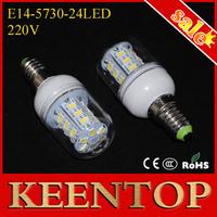 High Lumen 220V 7W E14 5730 24Leds Wall Corn Bulbs Pendant Lamps Brand Quality SMD Chandelier Lights Downlight Spotlight 10Pcs