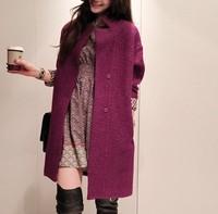autumn and winter women medium-long blend woolen outerwear wool coat casual loose       PH0096
