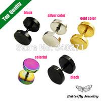 Free Shipping Fashion Titanium Earrings Men Jewelry Dumbell Ear Nail Women Stud Earrings Wholesale 6 Pcs/Lot