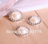 wholesale!100pcs/lot 16MM round Fashion Imitation Pearl metal rhinestone button wedding garment accessory